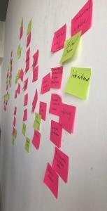 Themensammlung mit post-it's im Rahmen eines agilen Workshops.